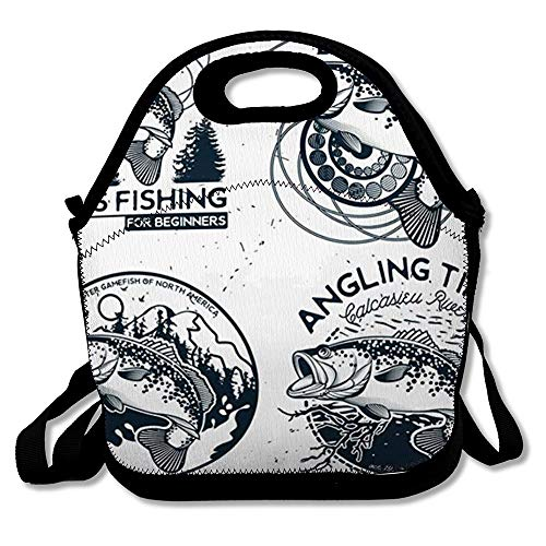 - Reusable Lunch Bag for Men Women Fish Vintage Bass Fishing Emblems Labels Hook Water Insulated Lunch Tote for Travel Office School