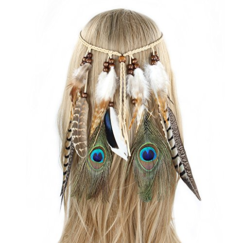 Beinou Feather Headband Hippie Boho Tribal Feather Headpiece Headbands Peacock Feather Hair Band Hair Accessories for Women and Girls ()