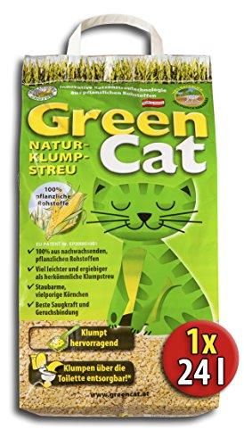 2×12 l = 24 Liter GREENCAT CORNCAT NATURSTREU ÖKO-PLUS GREEN CAT`S KATZENSTREU – BEST STREU GREEN CAT – kostenloser…