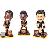 These officially licensed, hand-painted bobble heads feature LeBron James, Kyrie Irving, and Kevin Love. These Cleveland Cavaliers collectibles are made of heavy resin/ceramic type material. They Measure approximately 3 1/4 inches in height. ...