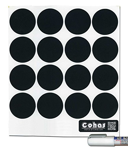 Cohas Chalkboard Labels for Libbey 4.5 Ounce Glass Spice Jars includes Liquid Chalk Marker and 48 Labels, Fine Tip, White Marker (Liquid Jars)
