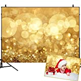 Mehofoto Glitter Gold Bokeh Backdrop Wedding Birthday Party Baby Shower Photo Booth Props 7x5ft Computer-Printed Christmas Vinyl Background Children Kids Adult Portrait Photo Backdrop Studio Prop