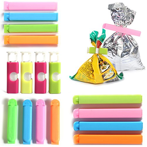 Chip Bag Clips (16 pcs) Kitchen Usage Sealing Clips for Bread, Snack, Coffee, Opened and Leftover Food, Fruit Bags - Assorted Sizes and Colors