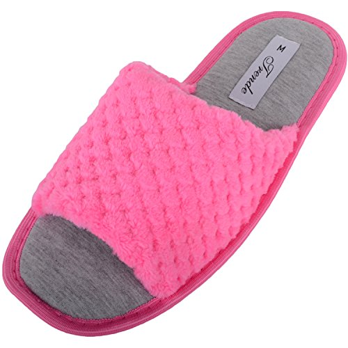 Absolute Footwear Womens Soft Fleece Open Toe Mules/Slippers/Indoor Shoes Pink