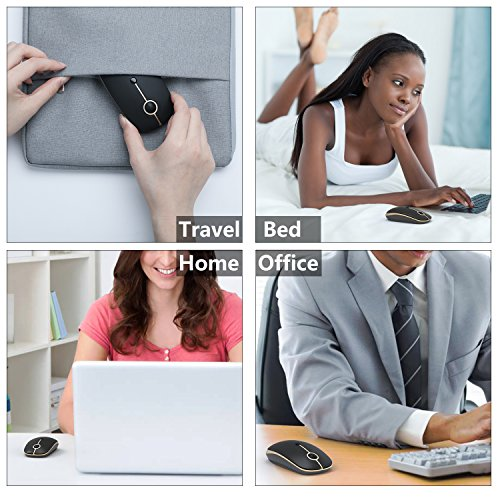 2.4GHz Wireless Bluetooth Mouse, Jelly Comb Dual Mode Slim Wireless Mouse with 2400 DPI for PC, Laptop, Mac, Android, Windows - Black and Gold by Jelly Comb (Image #8)