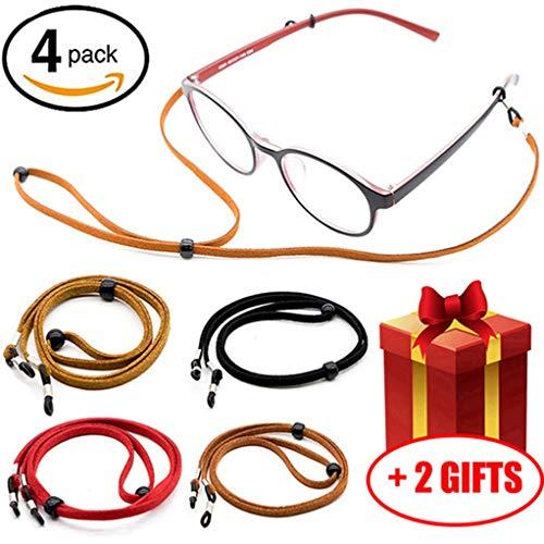 Premium Glasses Strap Chain for Men Women Kids [Pack of 4], Adjustable Eyeglass Holder String for Sports Reading, Never Lose Eyeglasses ()