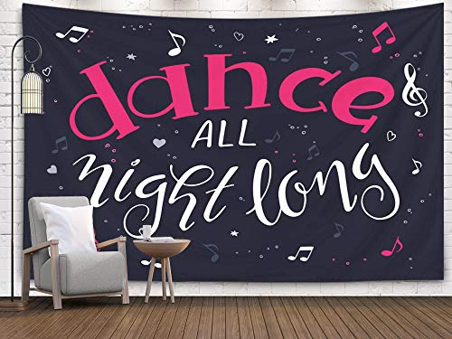 Jacrane Map Tapestry Wall Hanging, Large with 80x60 Inches Drawn Music Poster with Handwritten Lettering Quote Dance All Night Long Surrounded Notes Art Tapestries for Dorm Bedroom Living Home Decor