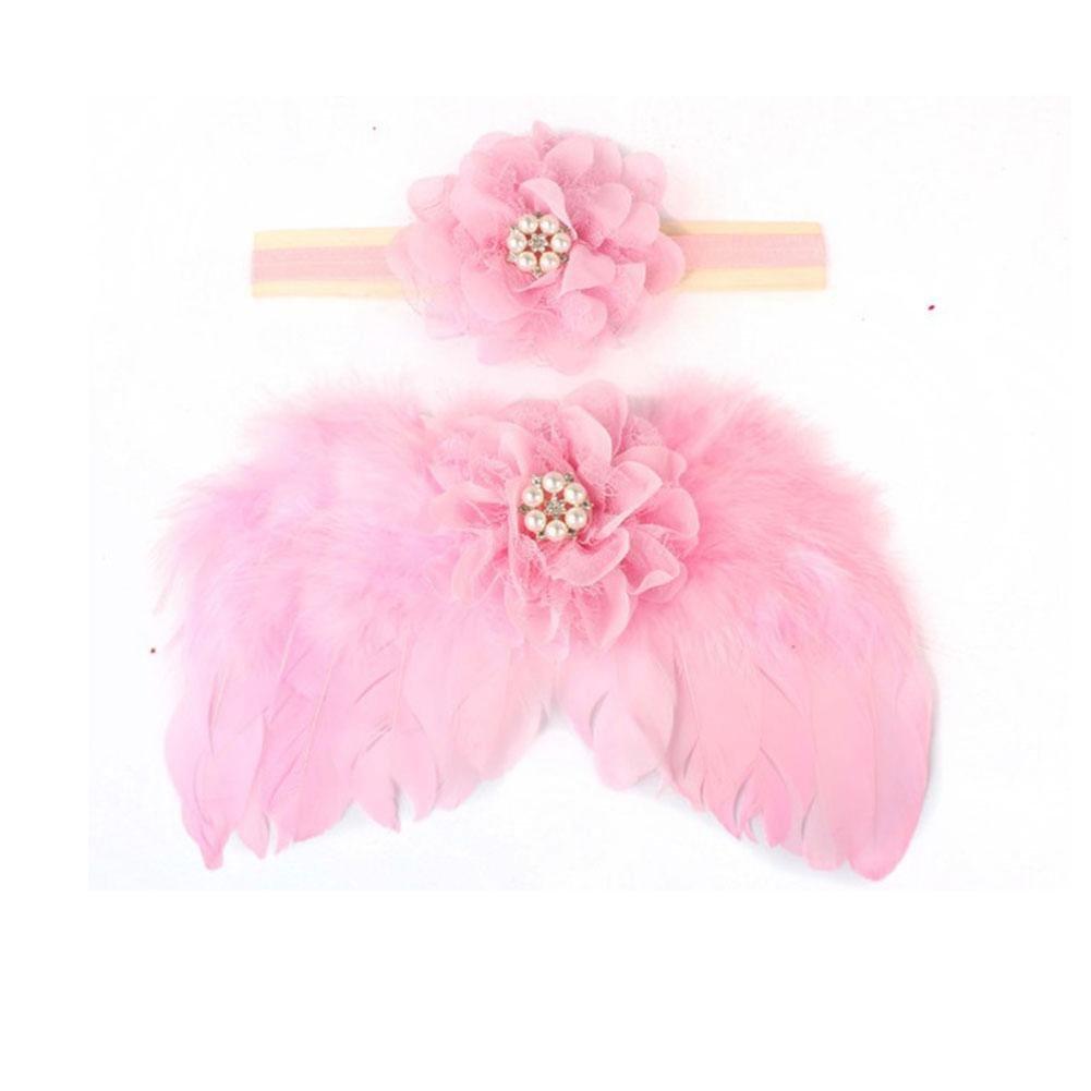 zhuotop recién nacido bebé flor Rhinestone diadema alas de ángel de sesión de fotos rosa rosa Talla:talla única