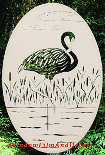 Oval Flamingo Left Etched Window Decal Vinyl Glass Cling - White with Clear Design Elements (8