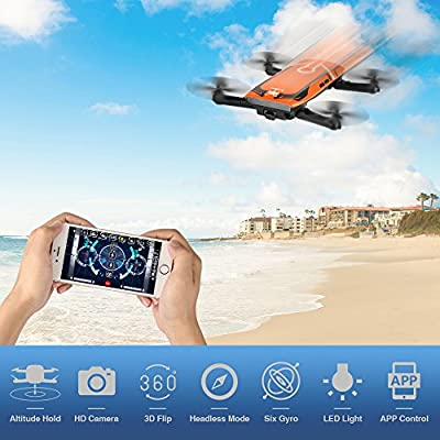 Foldable Mini RC drone, Furibee H818 FPV Wifi Drone 720P Camera with 2.4G One Key Start Flight for Kids & Beginner 3D Flips Helicopter and Headless Mode Quadcopter Orange by FuriBee