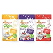 Happy Baby Organic Yogis Freeze-Dried Yogurt & Fruit Snacks Banana Mango Mixed Berry Strawberry Assortment Variety Packs 1 Oz. (3 Flavor Variety Pack) 6 Count