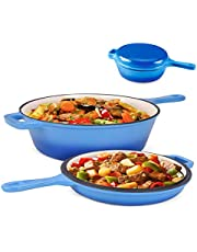 Suteck Enameled Cast Iron 2-In-1 Skillet Set, Heavy Duty 3.2 Quart Enamel Cookware Pot and Lid Set, Deep Saucepan and Shallow Skillet Dutch Oven Nonstick Frying Pan for Chef Kitchen