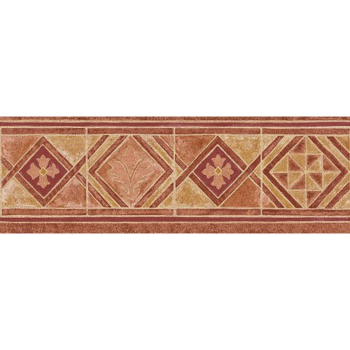 Blue Mountain Geometric Wallpaper (Decorate By Color BC1581226 Red Mid Tone Moroccan Tile Border)