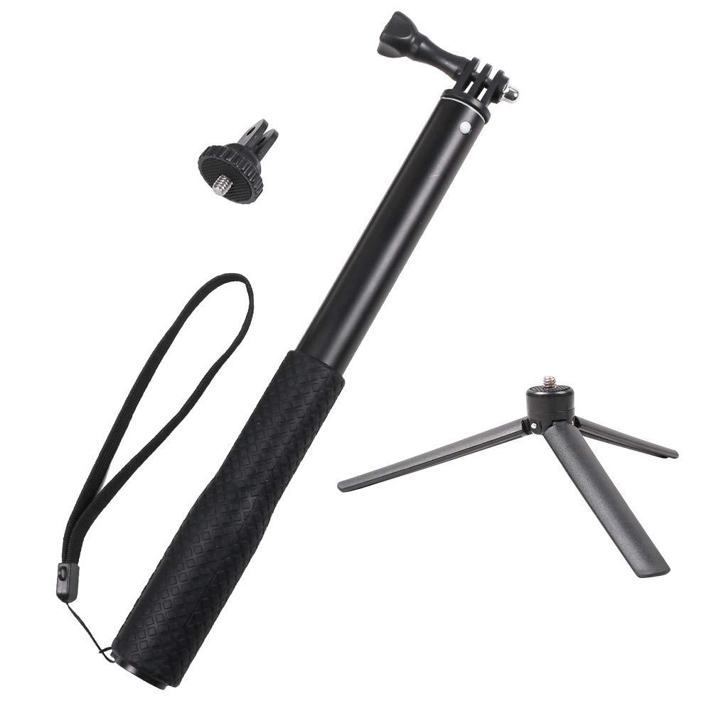 SUREWO Aluminum Rubber Waterproof Selfie Stick,Extendable Handheld Monopod Adjustable Tripod Pole Compable Gopro Hero (2018) 6/5/4 Black Hero 5/4 Session 4 Silver 3+ AKASO Xiaomi YI and More