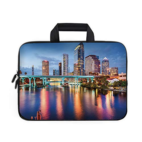 City Laptop Carrying Bag Sleeve,Neoprene Sleeve Case/Hillsborough River Tampa Florida USA Downtown Idyllic Evening at Business District/for Apple Macbook Air Samsung Google Acer HP DELL Lenovo AsusMul