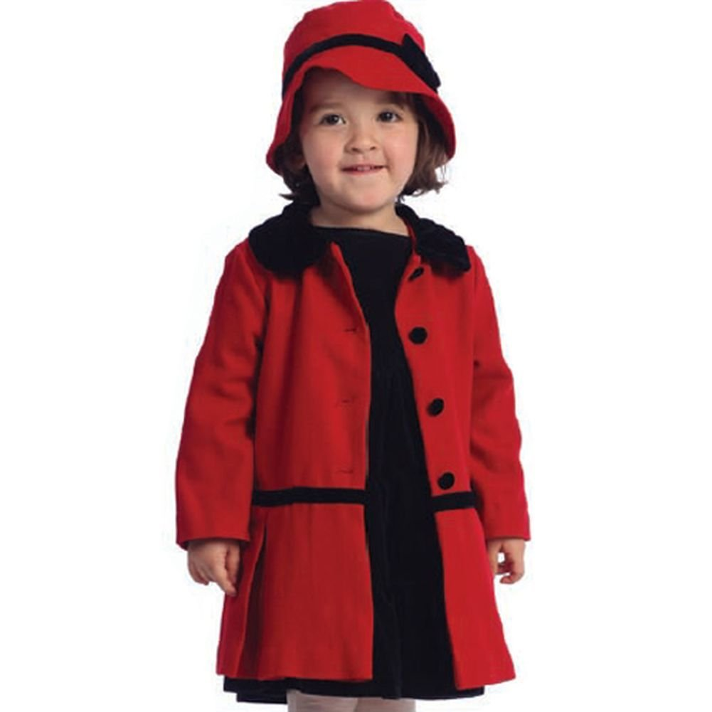 Angles Garment Toddler Girls Red Classic Coat Hat Set 3T