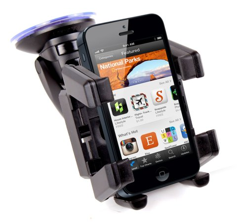 (DURAGADGET Adjustable In-Car/Vehicle Mobile Phone Mount - Perfect For The New Apple iPhone 5 - With Padded & Shock Absorbant Arms & Rotating Mount With Secure Suction Cup Base)
