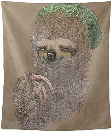 Donnapink Wall Tapestry Sloth Smoking 40 X60 Wall Hanging Bedspread for Home Livingroom Dorm