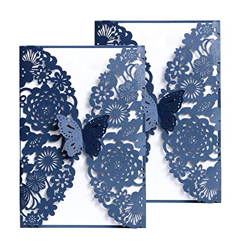 Gold Fortune 50PCS Navy Blue Laser Cut Wedding Invitation Cards Kit with Hollow Flora Favors HK-62