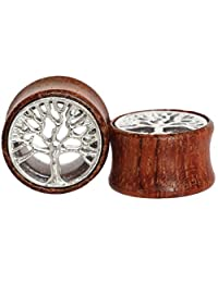 Tree of Life Organic Wood Flesh Tunnels Double Flared Ear Stretcher Saddle Plugs Gauge 8mm - 20mm