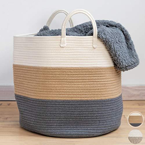 XXL Premium Cotton Rope Basket 18″x18″x16″ – Big Basket for Blankets Living Room – Woven Laundry Basket- Storage Basket – Large Blanket Basket Living Room – Storage Basket – Large Baskets for Blankets