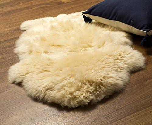 Super Area Rugs Genuine Sheepskin Rug Soft Fur Single Pelt Throw Rug for Sofa, Bed Or Floor Decor, Champagne Cream , Model Single Pelt Champagne