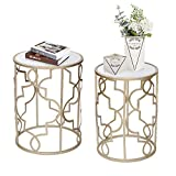 Joveco Side End Coffee Table Set of 2 Gold Nightstands Indoor Outdoor Decorative Round Nesting Tables(Gold-1)