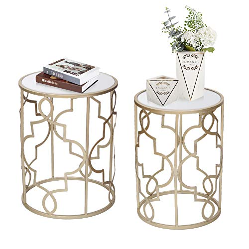 Joveco End Tables Set of 2 Coffee Table Gold Nightstands Indoor Outdoor Decorative Round Nesting Tables(Gold-1)