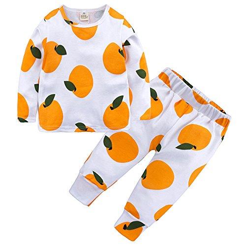 CCSDR Toddler Boys Girls 2-Pack Pants Set Kids Fruit Patteren Cotton Blend Pajama Sleepwear Orange