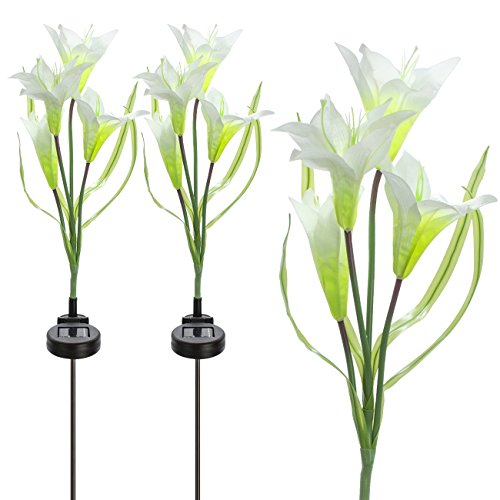 Sorbus Solar Light Flower Lily Stakes, Outdoor LED Garden Flowers for Night Lighting, Solar Path Walkway, Lawn, Garden, Pond, Patio, Gravestones, Special Occasions, etc (White)