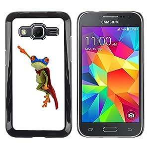 Paccase / SLIM PC / Aliminium Casa Carcasa Funda Case Cover para - Frog Flying Hero White Minimalist - Samsung Galaxy Core Prime SM-G360