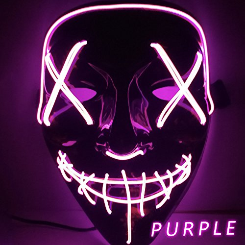 Kangkang Halloween Mask LED Light up Funny Masks The Purge Election Year Great Festival Cosplay Costume Supplies Party Masks Glow in Dark (Purple)
