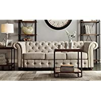 Classic Scroll Arm Button Tufted Chesterfield Style Beige Sofa Includes ModHaus Living (TM) Pen