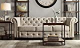 ModHaus Living Classic Scroll Arm Button Tufted Chesterfield Style Beige Sofa Includes (TM) Pen