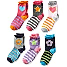 Jefferies Socks Big Girls' Hearts/Daisies/Stripes Fashion Crew Socks 6 Pack
