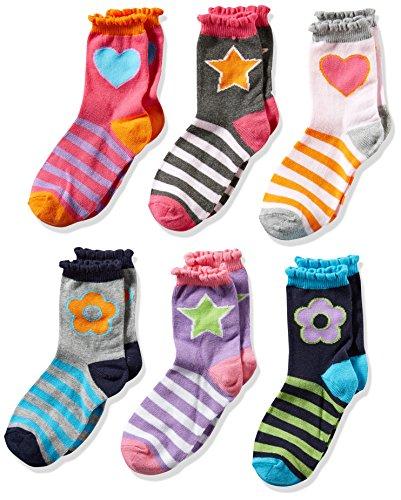 Jefferies Socks Big Girls' Hearts/Daisies/Stripes Fashion Crew Socks 6 Pack, Multi, (Jefferies Girls Socks)