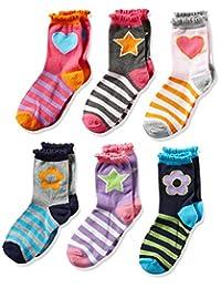 Jefferies Calcetines para niñas, diseño de corazones, margaritas y rayas, 6 unidades
