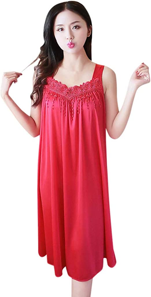 Hattfart Womens Vintage Nightgown Long Sleeve Sheer Sleepwear Pajamas Nightwear Lounge Dress