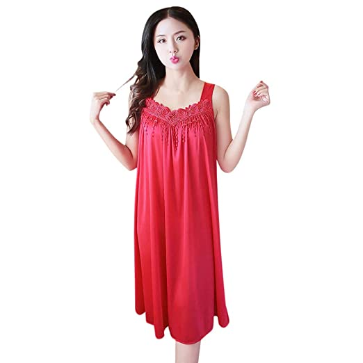 32020a0b303 Amazon.com: Tomppy Sleeveless Nightgown for Women Sexy Tank Nightdress  Lingerie Sleepwear Pajamas Red: Clothing