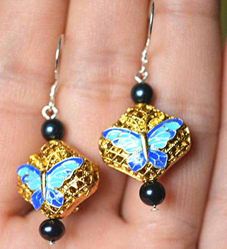 FidgetFidget New 4-5mm Natural Black Tahitian Pearls Butterfly Cloisonne earring-925 Silver