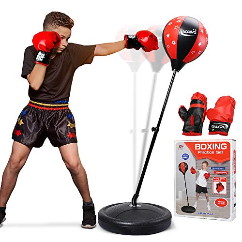 TOY Life Punching Bag with Boxing Gloves, Boxing Bag for Kids, Boxing Toy with Adjustable Stand, Gifts for 5 – 14 Year…