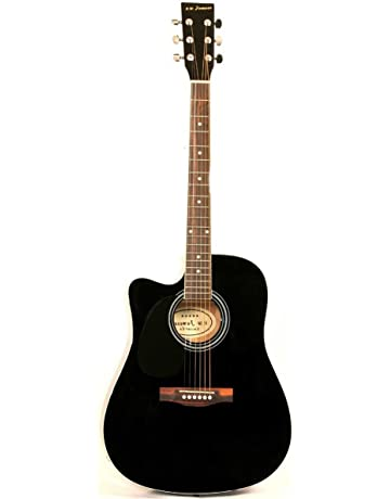 Jameson Guitars Full Size Thinline Acoustic Electric Guitar with Free Gig Bag Case & Picks Black