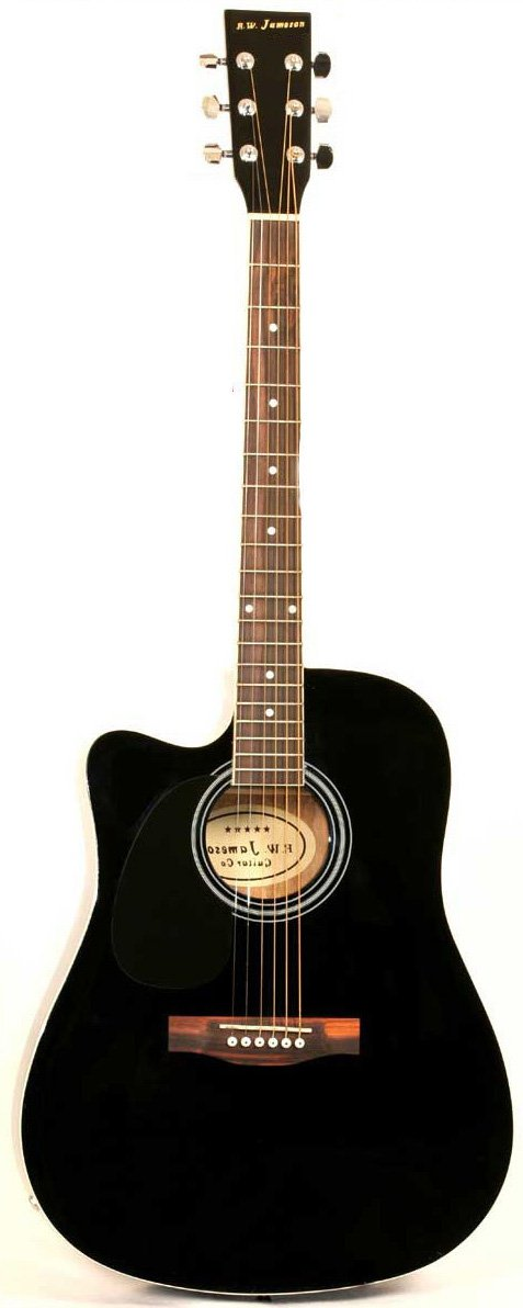 Left Handed Black Acoustic Electric Guitar Full Size Thinline Cutaway Body with Case and Picks by Jameson Guitars