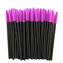 cici store 50pcs Silicone Disposable Eyelash Mascara Applicator Wand Brush Eyelash Extension Makeup Tool (purple)