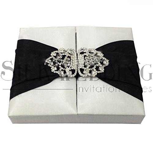 IMPOSING SILK INVITATION BOX WITH BLACK SASH AND ORNATE RHINESTONE BUCKLE (Buckle Silk)
