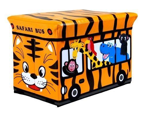 Kids Childrens Large Storage Seat Stool Toy Books Clothes Box Chest Train Fire Engine Pink Bus or Safari Animals (Safari) by L-FENG-UK (Safari Animal Stool)