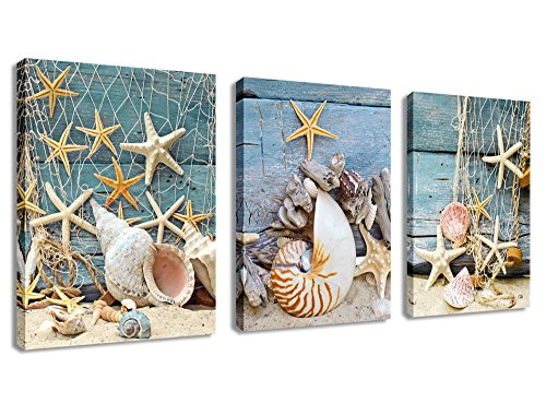Canvas Wall Art Starfish Shell Fishing Net Stone on Beach Sands - 3 Pieces Contemporary Pictures Canvas Painting Modern Artwork for Home Decoration Framed Ready to Hang Blue Themes (Coastal Shell Decor)