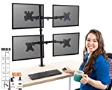 Stand Steady 4 Monitor Desk Mount Stand | Height Adjustable Quad Monitor Stand with Full Articulation and Desk Clamp | VESA Mount Fits Most LCD/LED Monitors 13-32 Inches (4 Arm Clamp)