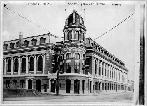 Photo Entrance Phila. baseball field, Shibe Park 1913