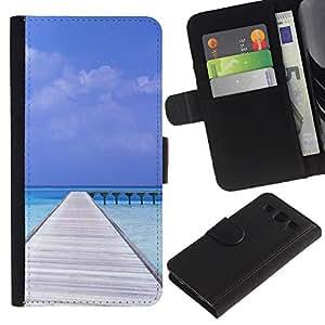 Paccase / Billetera de Cuero Caso del tirón Titular de la tarjeta Carcasa Funda para - Nature Beatiful Carribean Bach - Samsung Galaxy S3 III I9300